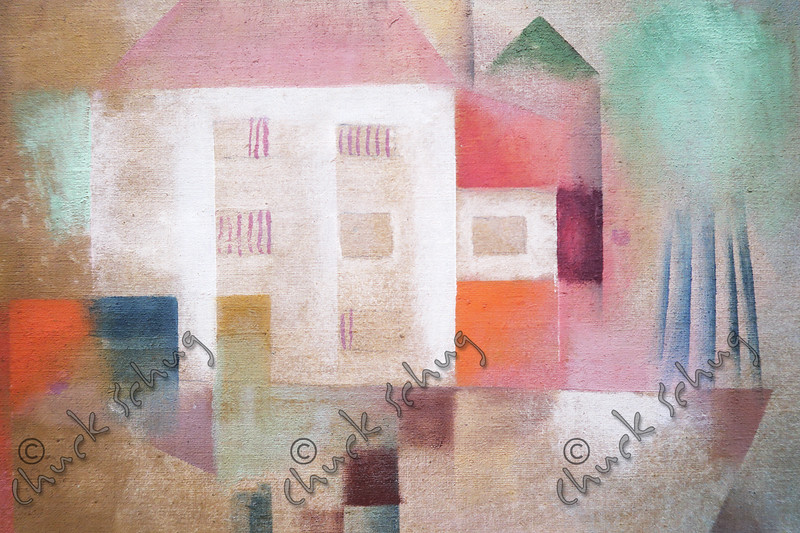 """""""NEW HOUSE IN THE SUBURBS"""" BY PAUL KLEE, 1924, GOUACHE ON CANVAS - ON DISPLAY AT THE NATIONAL GALLERY OF ART"""