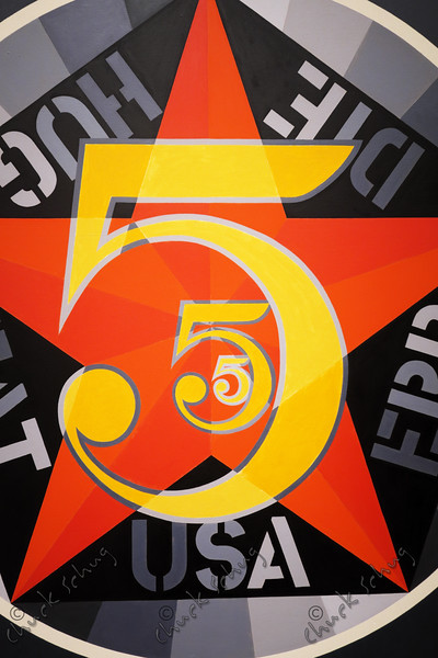 THE FIGURE FIVE - ROBERT INDIANA, 1963 - OIL ON CANVAS, AFTER CHARLES DEMUTH'S 1928 PAINTING - SMITHSONIAN AMERICAN ART MUSEUM