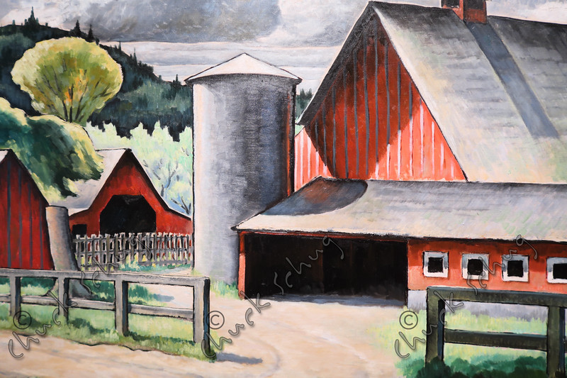 THE FARM - BY KENJIRO NOMURA - 1934 DEPRESSION ERA OIL ON CANVAS DISPLAYED AT THE SMITHSONIAN AMERICAN ART MUSEUM