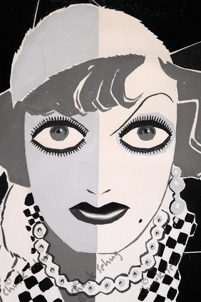 JOAN CRAWFORD IN INDIA INK, PENCIL AND GOUACHE WATERCOLOR ON PAPER - BY JOSEPH GRANT - AT THE NATIONAL PORTRAIT GALLERY