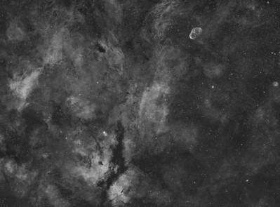 IC1318, Sadr, Crescent Nebula & the Soap Bubble: four panel mosaic in Ha.