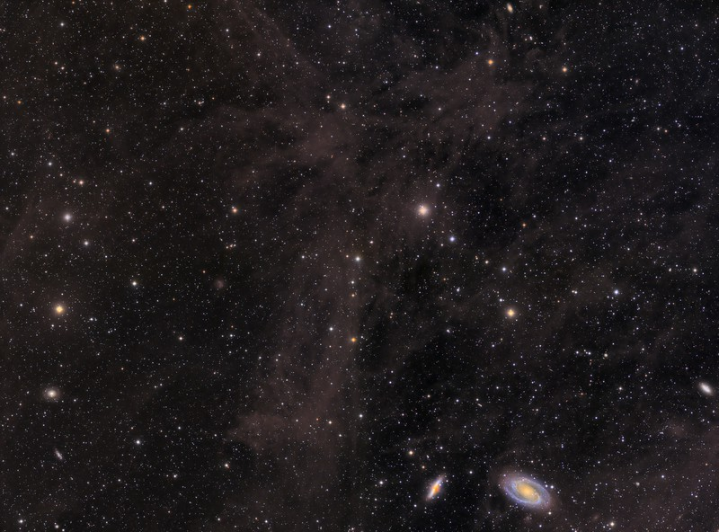"Four panel mosaic of Mandel-Wilson 3, ""The Volcano Nebula"", and M81 and 82 amid the Integrated Flux Nebula"