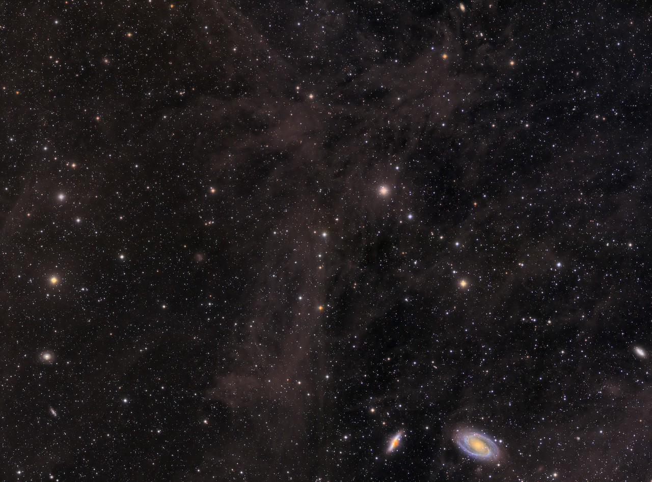 """Four panel mosaic of Mandel-Wilson 3, """"The Volcano Nebula"""", and M81 and 82 amid the Integrated Flux Nebula"""