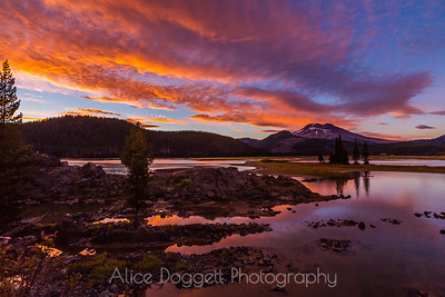 Clouds On Fire At Sparks Lake, Central Oregon Cascades