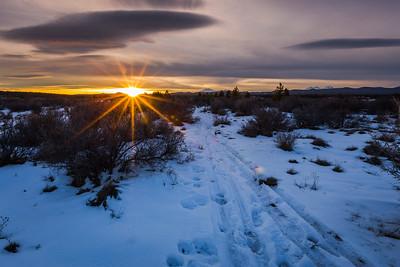Sunset On The Snowy High Desert