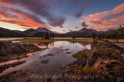 Vivid Sunset At Sparks Lake, Central Oregon Cascades