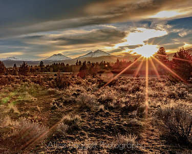 Three Sisters At Sunset, Central Oregon