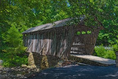 Historic Pisgah Covered Bridge, rendered in artistic brush - Asheboro, NC