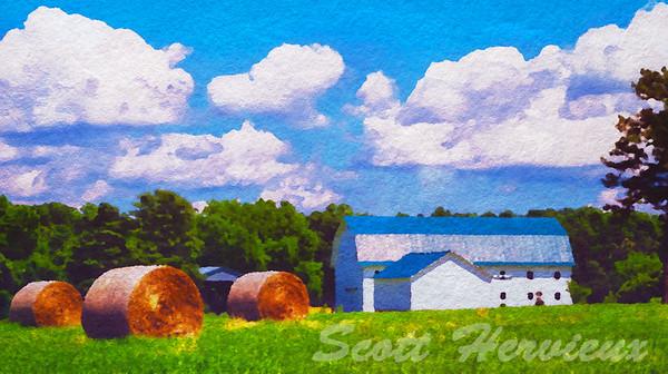 Barn in watercolor rendition.  Located in rural SnowCamp North Carolina