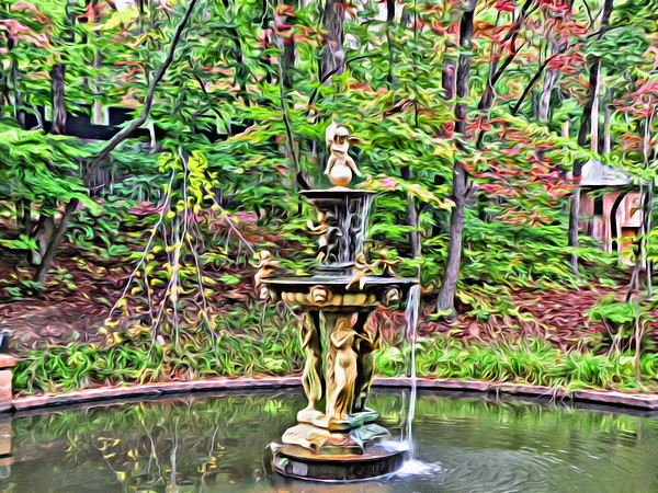 Artistic rendition of the water fountain at Castle McCulloch
