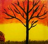 Autumn sunset - hand painted in acrylics
