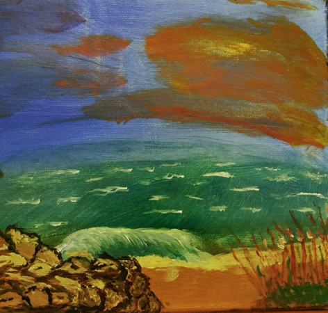 Rocky Beach - hand painted in acrylics, inspired by my growing up in New England where we have getty's, brown sand and water color variations