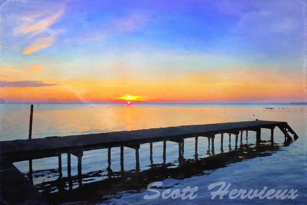 Early Morning Sunrise over a dock at Lake Waccamaw, North Carolina - Watercolor rendition