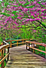 Artistic Paint rendering of  a spring walkway.