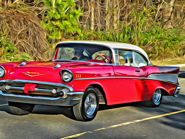 Sunday drive in a 1955 Chevy
