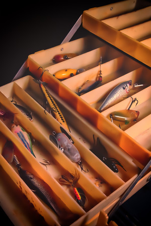 """""""My Old Box""""<br /> <br /> My old tackle box, complete with my grandpa's and dad's lures. All three of us were avid fishermen; brings back lots of childhood memories."""