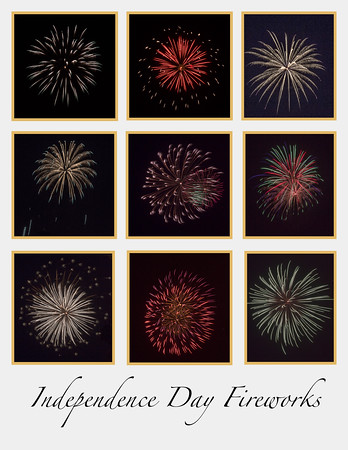 Independence Day Fireworks - White Background