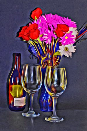 Wine and flowers.