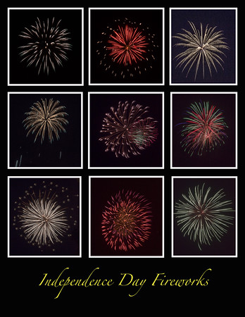 Independence Day Fireworks - Black Background