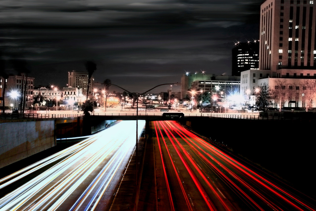 Zoom~<br /> <br /> 101 Freeway at night, Los Angeles, Ca. with historic Olvera Street on the left (Historic Pico House)