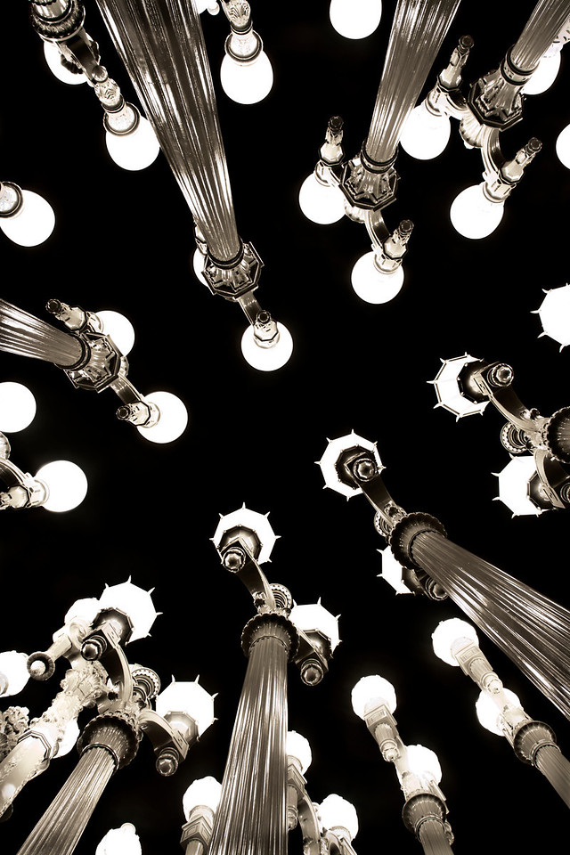"Pole Position~<br /> <br /> Los Angeles County Museum of Art<br /> <br /> Chris Burdon's ""Urban Light"" installation of 202 restored antique street lamps that once lined the city streets of early Los Angeles"