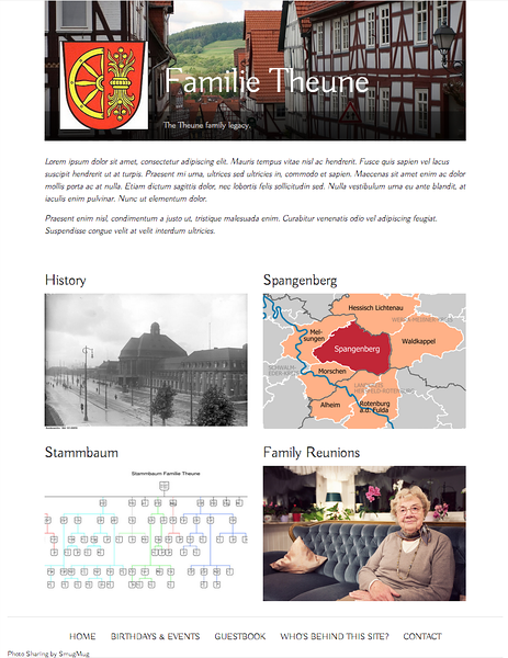 Example of an international family legacy site.