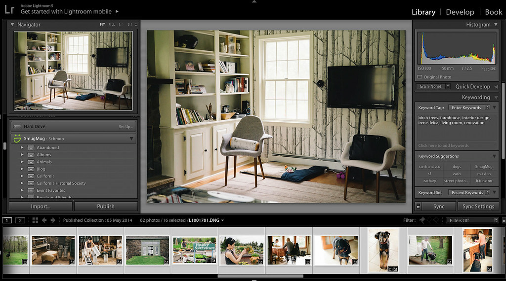 Lightroom does everything from one place: organize, edit, keyword, publish and more.