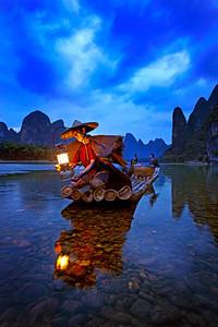 Cormorant Fisherman in the Lijang (Li) River. Xingping, Guilin p