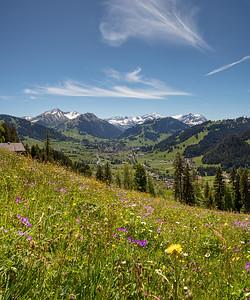 Blick auf Gstaad im Frühling