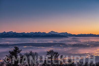 Blick vom Grenchenberg auf den Mont Blanc