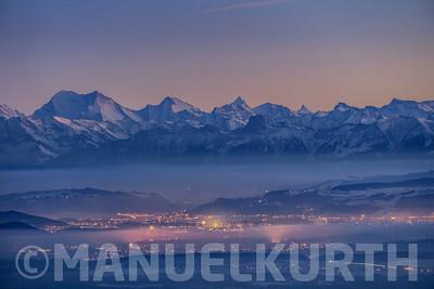 Blick vom Grenchenberg auf die Berner Alpen und das Weisshorm