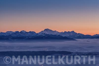 Mont Blanc über dem Mittelland