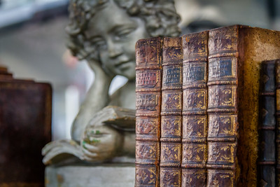 Old books with angel