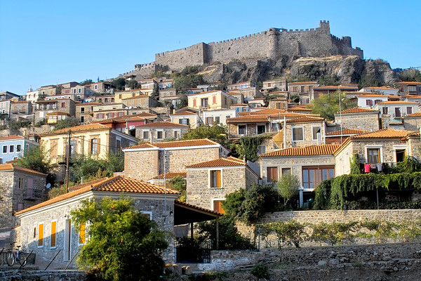 Castle above Molyvos village on Lesbos, Greece