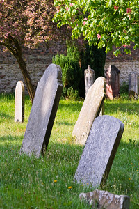 Old gravestones in a cemetary