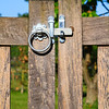 Latched wooden gate in rural England
