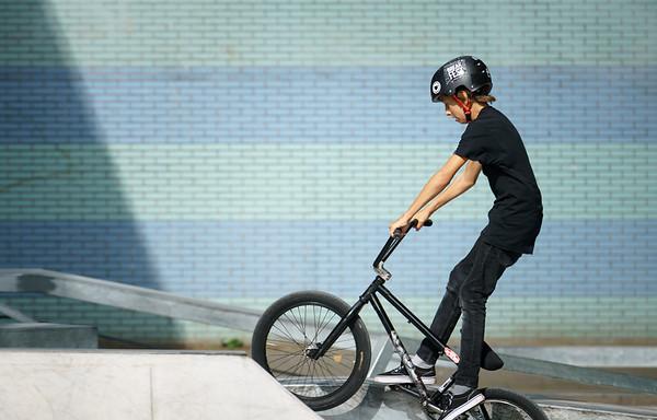Young biker wearing helmet