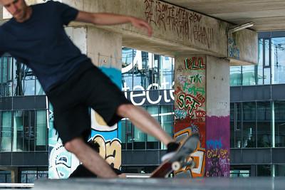 Close-up jumping skateboarder