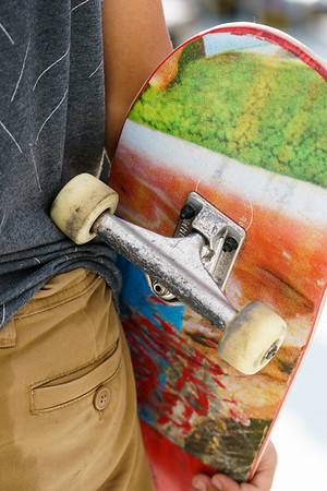 Young skater with his board