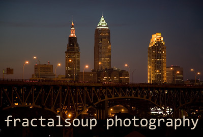 Cleveland Skyline just at Dusk from Tremont