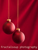 Christmas Ornaments on Red