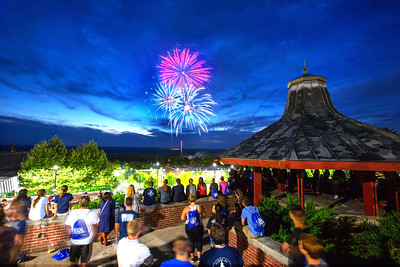 fall 2018 move-in weekend move in first knight fireworks gazebo student watching fireworks at the gazebo celebration KW