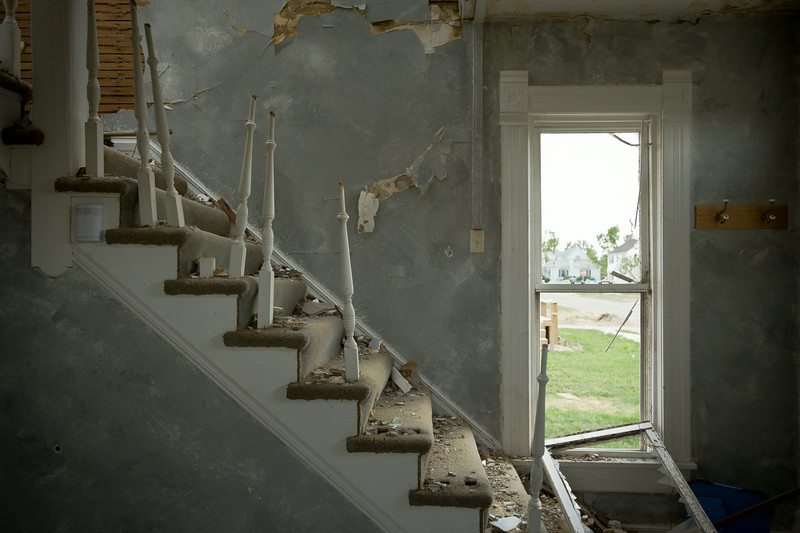 The interior of a damaged home in Chapman, KS.