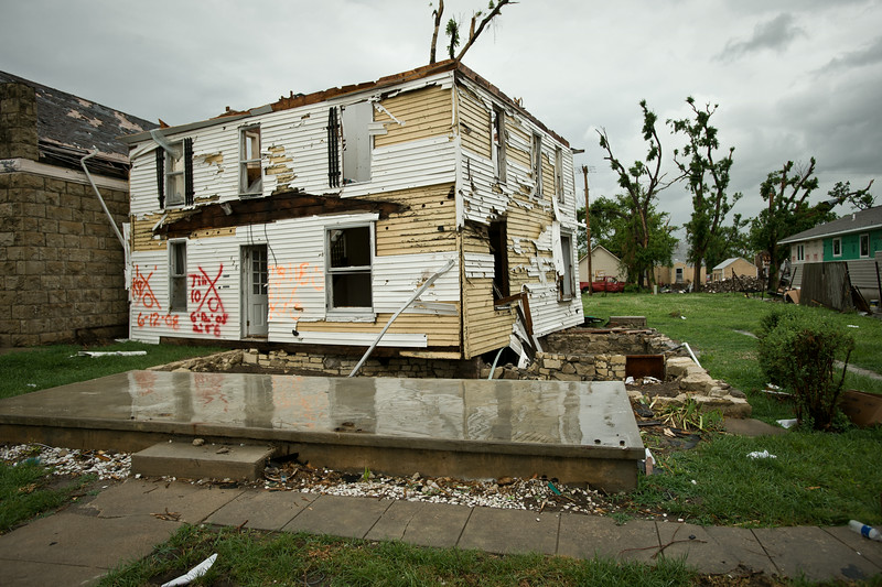 A home is blown off it's foundation.