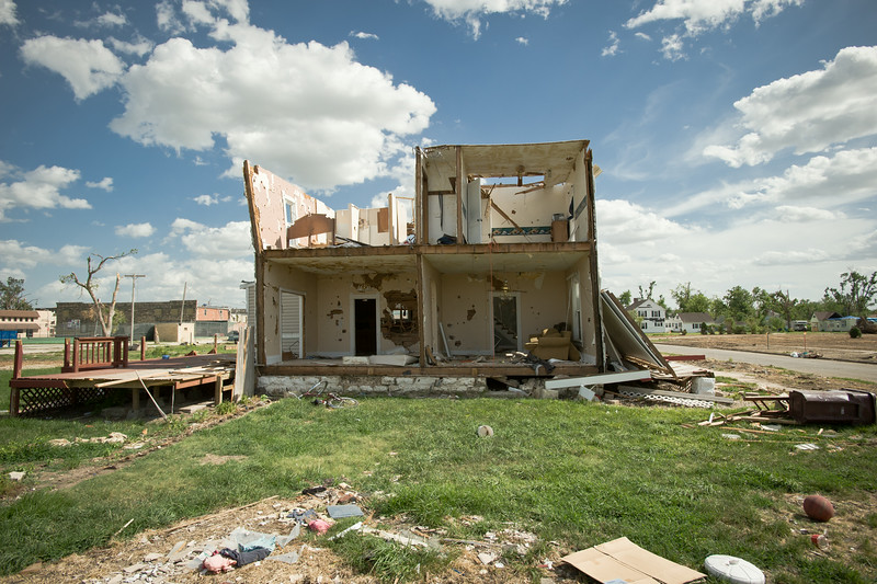 A damaged home in Chapman, KS.