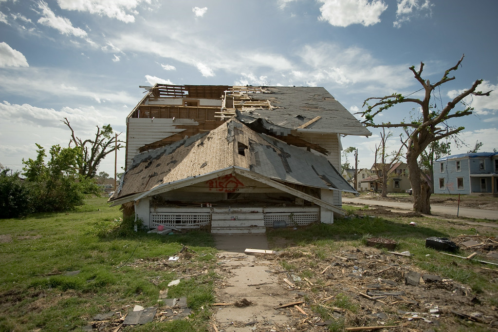 This home shows the devestating impact of an F-3 tornado that hit Chapman, Kansas on June 11, 2008.