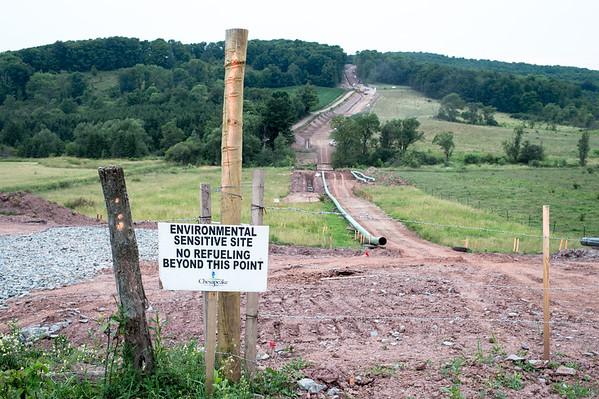Pipeline near Wilmot in Bradford County, Pennsylvania.