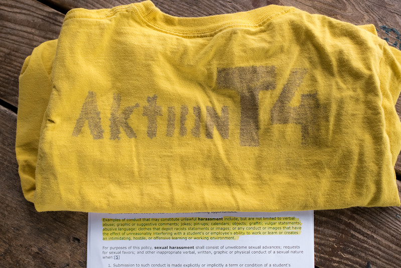 8/18/2018. PA. A shirt that was worn by one of the children to school. In 2018 the school board enacted a dress code policy for the first time in 30-years that includes a ban on clothing that depicts racist statements or images. The letter, along with the highlighted example of conduct that may constitute harassment was mailed to Dan and Sabrina. <br /> <br /> Aktion T4 is a little known Nazi euthanasia initiative that killed as many as 300,000 disabled people. The technology and personnel developed were instrumental in implementing the Holocaust.