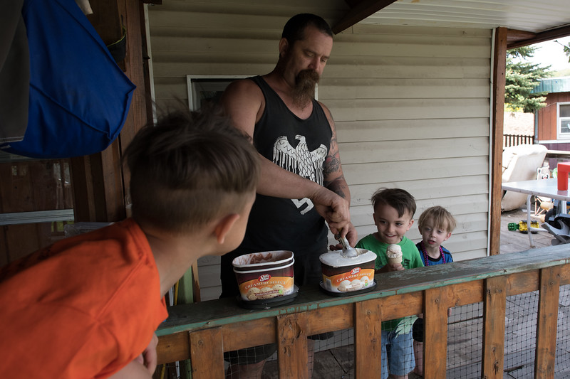 5/18/2018. Dan, a passionate White Nationalist makes ice cream cones for his children following dinner.