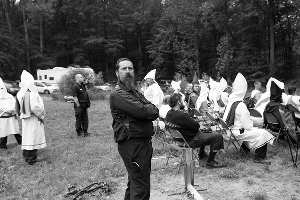 5/20/2017. PA. Dan provides security during a Klan gathering. Several organizations from neighboring states came together in the hopes of forming an alliance.